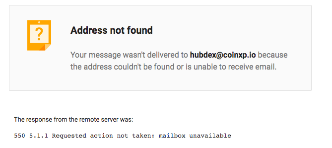 Hubdex did not respond, and emails were not delivered to their inbox