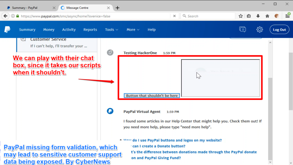 PayPal's SmartChat stored XSS vulnerability