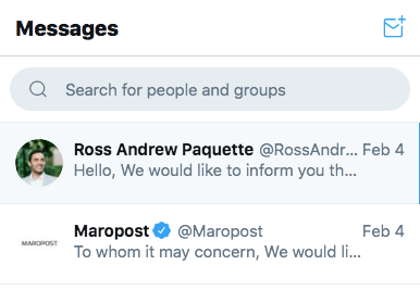Maropost and Paquette's official Twitter channels ignored our disclosure attempts