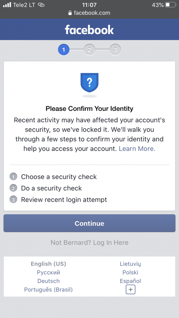 first step of facebook table to confirm your identity