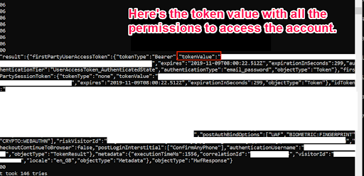 code underlining token value with all the permissions to access the account