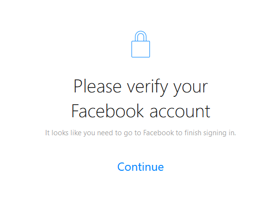 table asking to verify your Facebook account