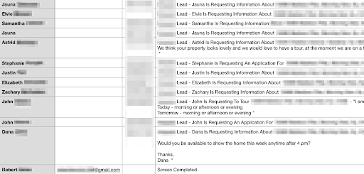Example of leaked tenant lead messages
