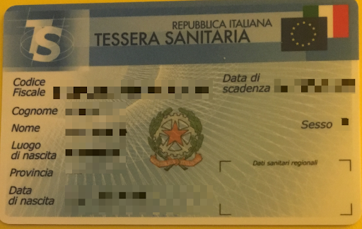 italian health insurance card scan sample
