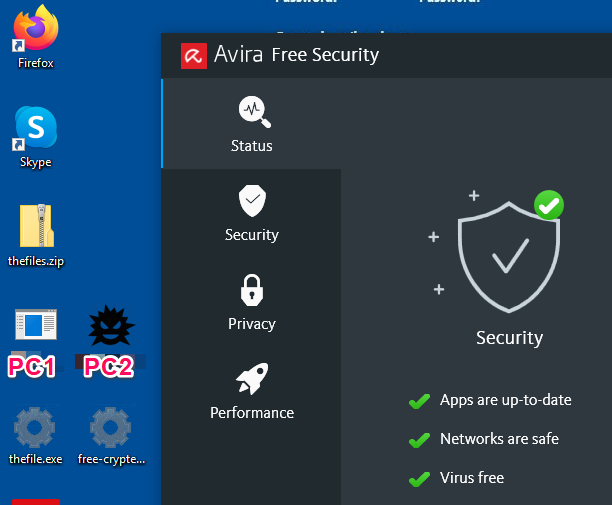 desktop view with antivirus programs