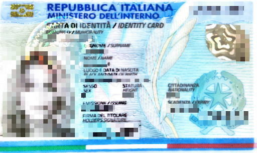 italian national id scan sample