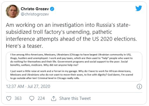 Christo Grozev tweet screenshot