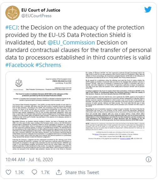 EU Court of Justice tweet screenshot