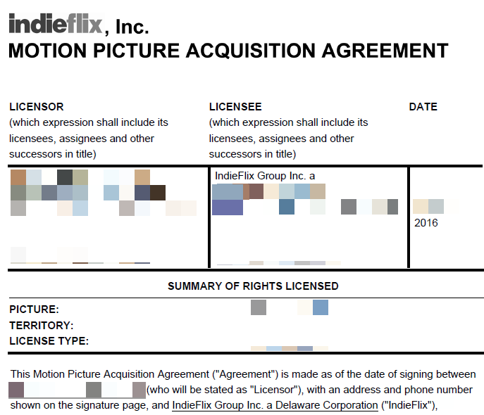 censored motion picture acquisition agreement