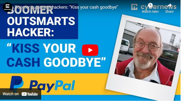"Boomer outsmarts hackers: ""Kiss your cash goodbye"" video screenshot"
