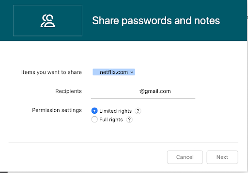 Share passwords entering email