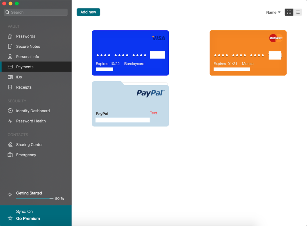 Dashlane stored payments