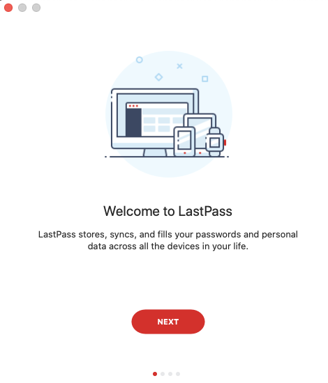 Welcome to LastPass screen