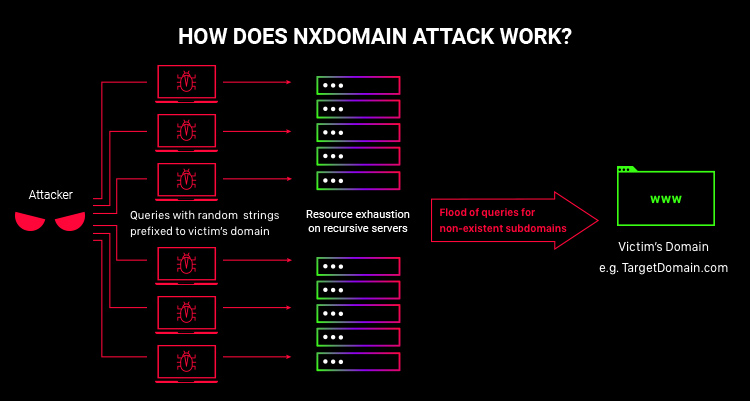 scheme showing how dns nxdomain attack works