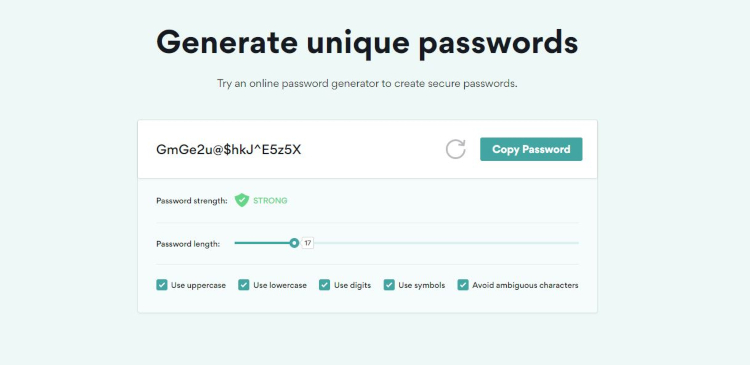An interface of NordPass Password Generator with a generated password