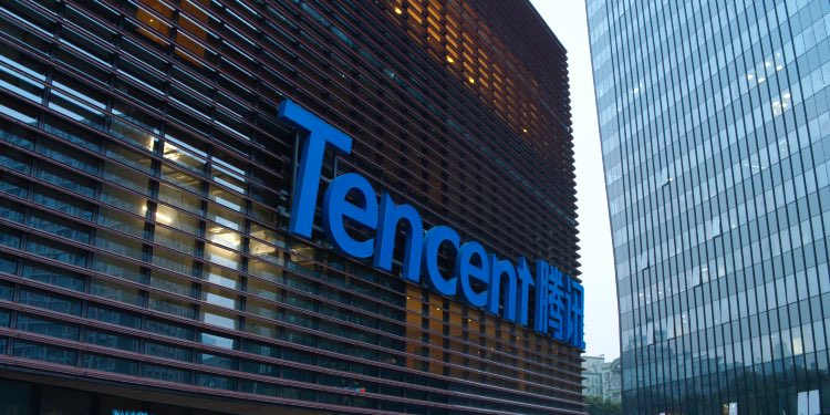 Tencent building with a logo