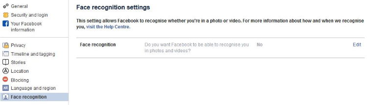 Facebook turn off Face recognition