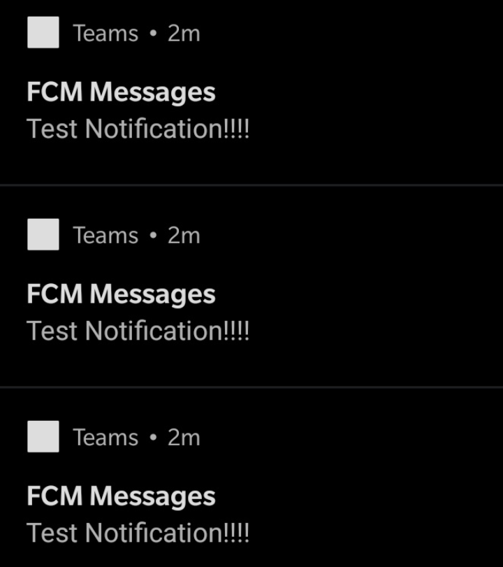 A screen capture of the type of spam FCM notifications from MS Teams
