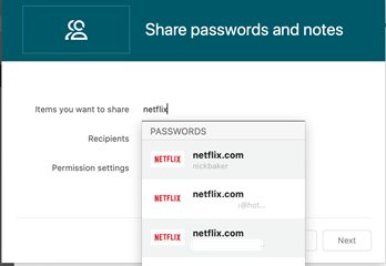 Share passwords interface