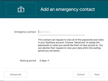 Emergency contacts window