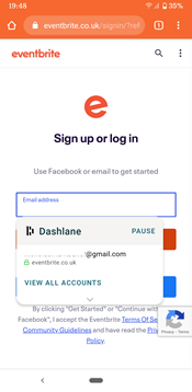 eventbrite login window
