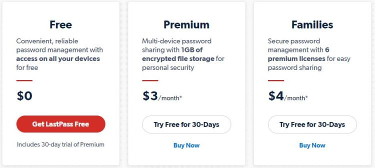 LastPass password manager prices in USD as of August 31, 2020