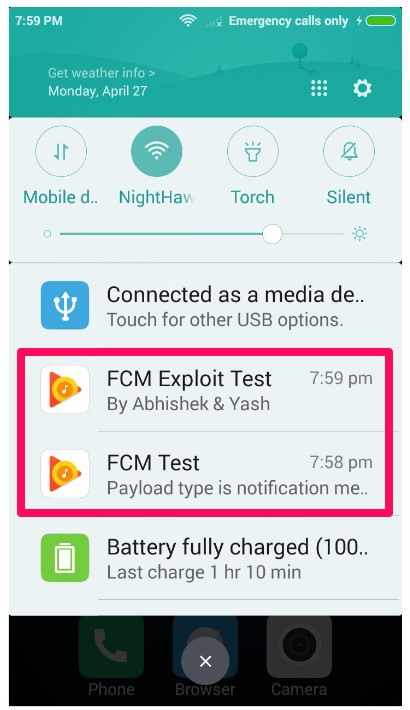 A proof of concept of Abss successfully manipulating push notifications for Google Play Music