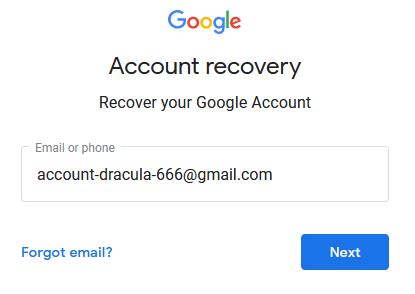 Recover Google Account - Step 1