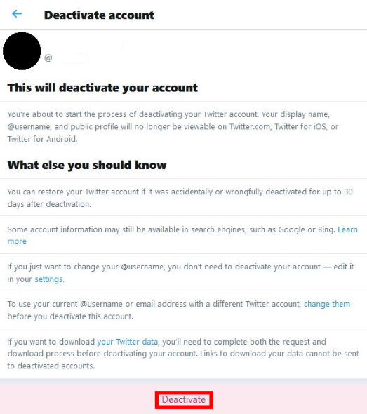 Delete Twitter account - Step 3