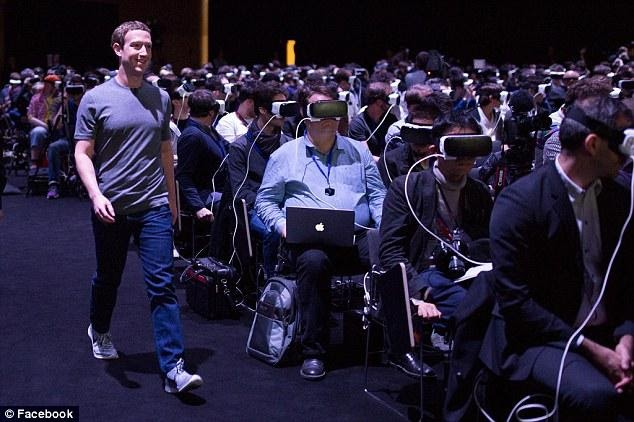Zuckerberg in a hall with people wearing AR glasses