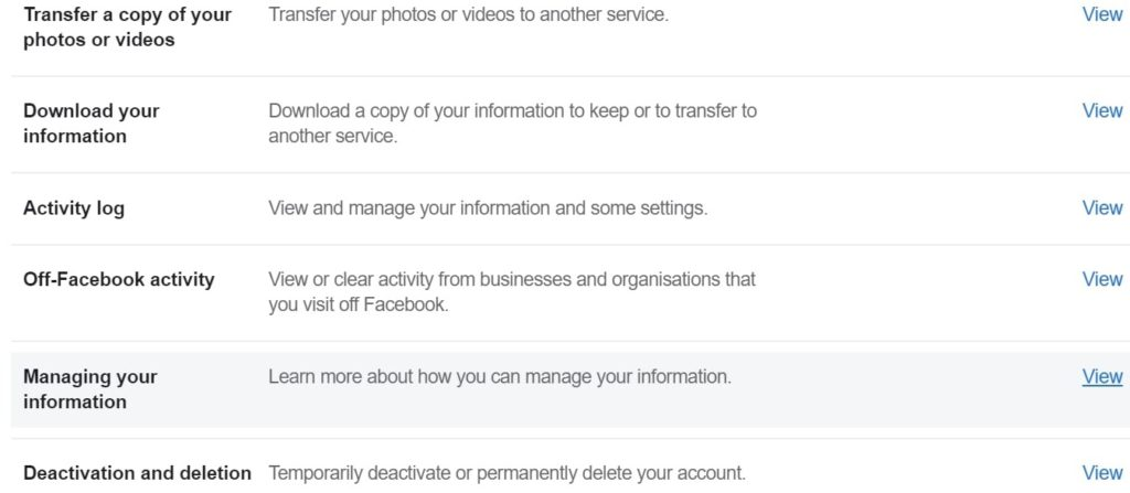 An interface of Deactivation and Deletion section on Facebook settings