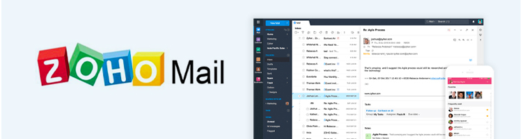 Zoho Mail interface in smart devices