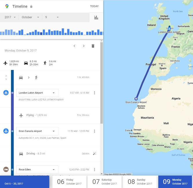 Google Maps shows flight from UK to Gran Canaria