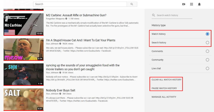 YouTube history: clear or pause selected history type