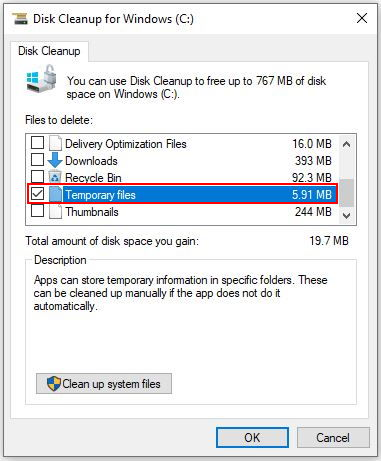 Windows 10 Disk Cleanup - deleting Temporary files