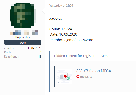 The Xado.us database leak made available for free on a Russian hacker forum