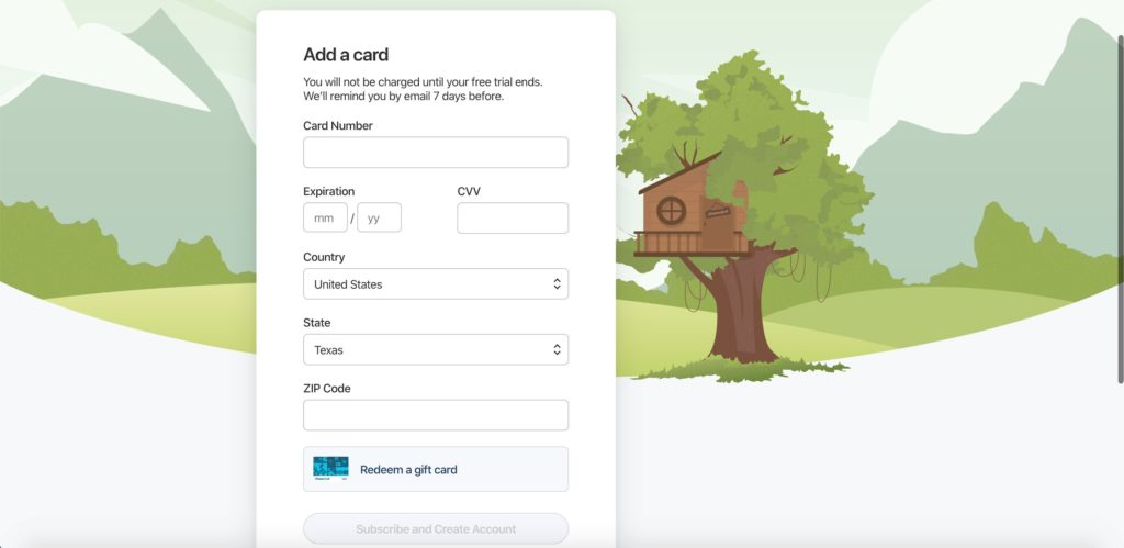 Interface of adding a card while registering on 1Password