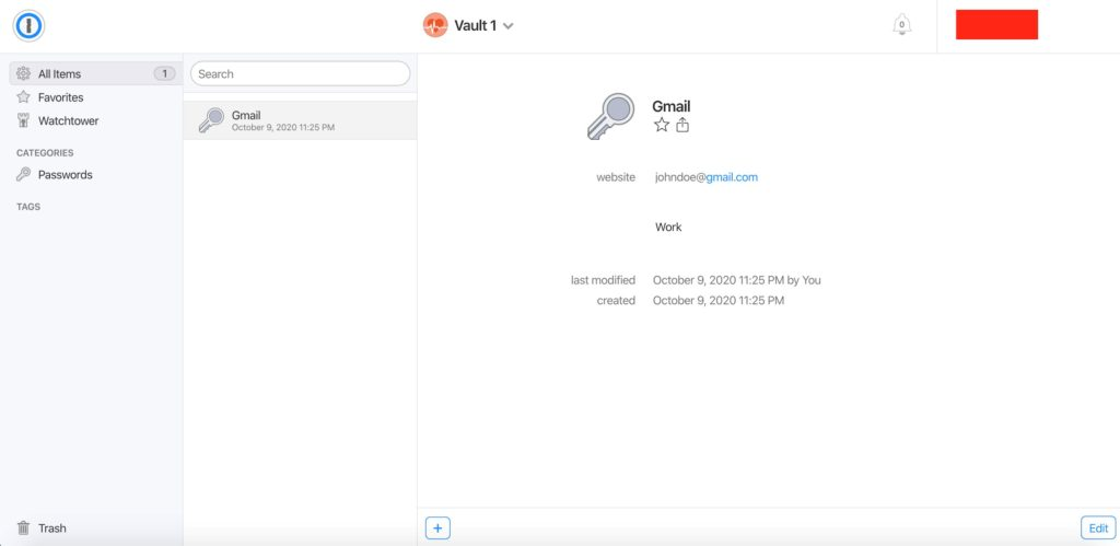 The appearance of a newly created entry on the vault