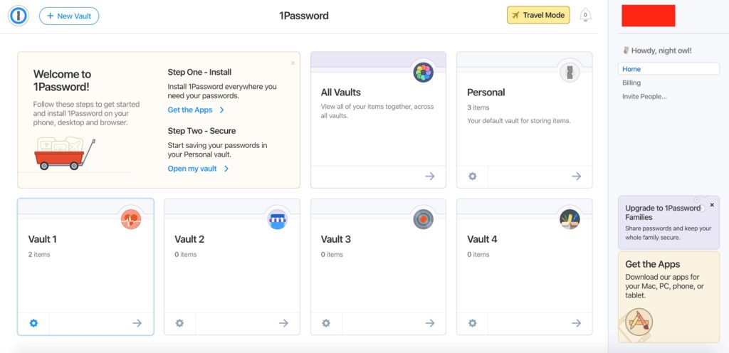 Instructions how to find Settings on Vaults on 1Password