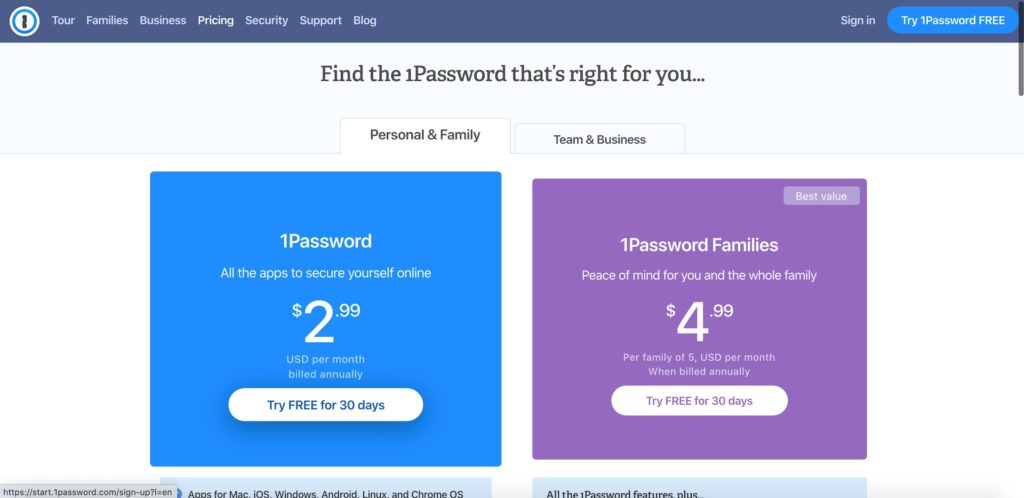 Interface of plan selection on 1Password