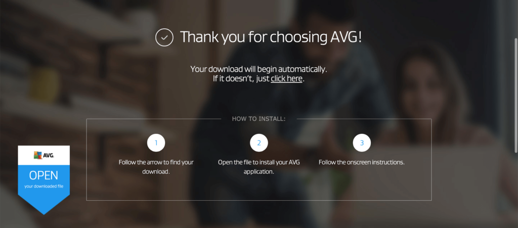 AVG download message