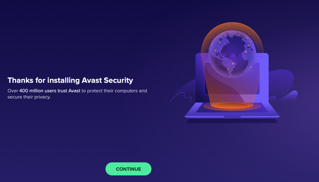 Avast Security Antivirus message after installing