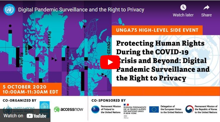 Digital Pandemic Surveillance and the Right to Privacy video screenshot