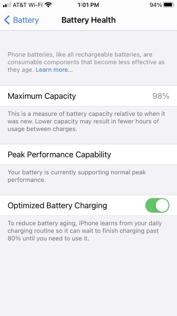 Battery Health settings on Android