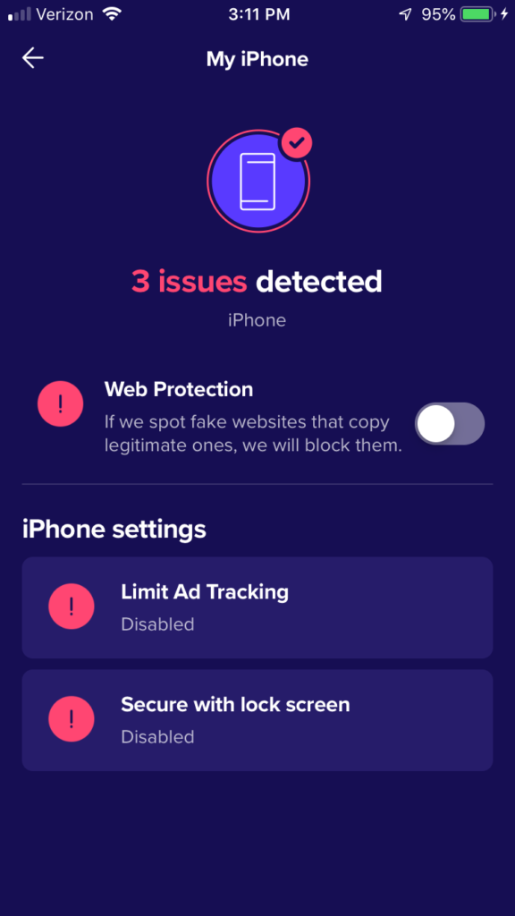 Norton iPhone app shows issues detected