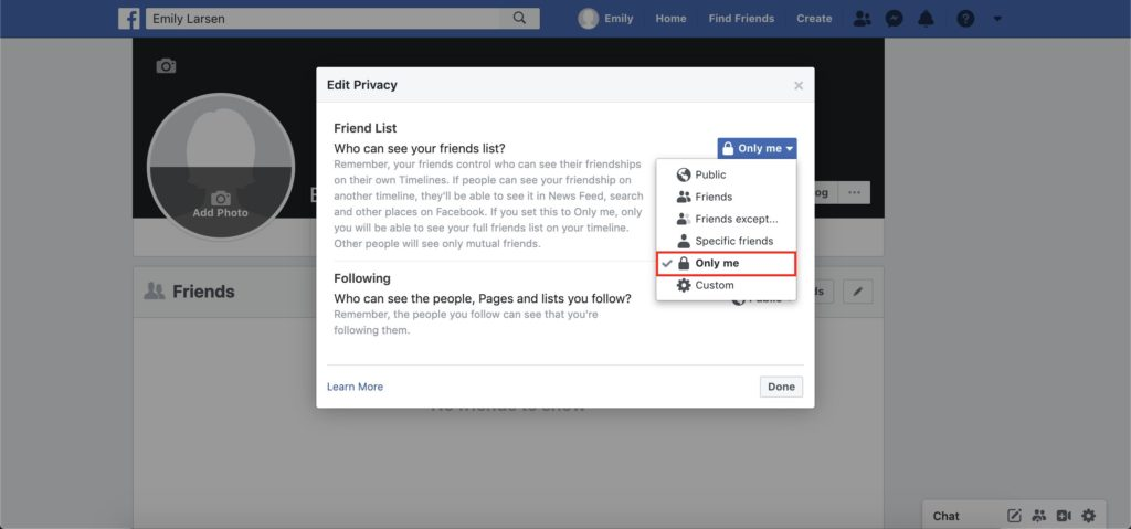 facebook friend list preferences