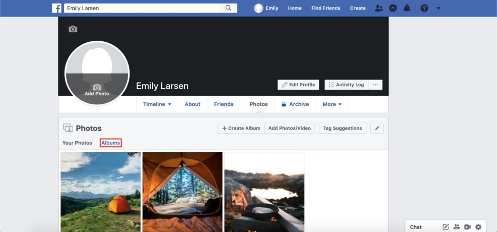 facebook albums tab screenshot
