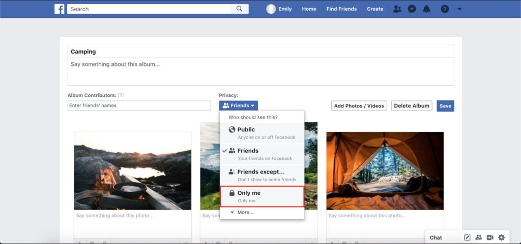 facebook album only view option dropdown menu