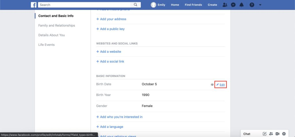 facebook edit your contact and basic info tab