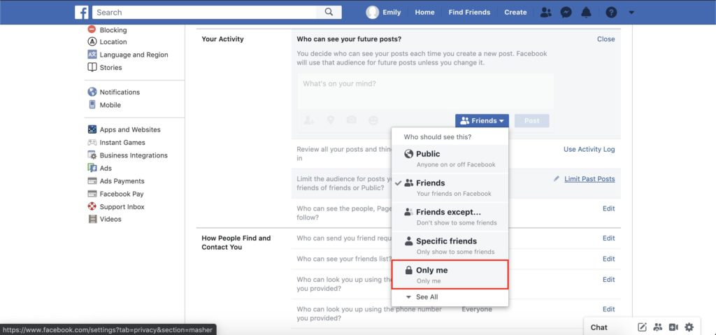facebook your activity section in settings menu